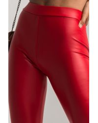 Akira - Red Keep You Close Faux Leather Leggings - Lyst