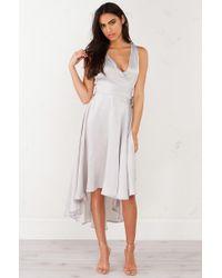 AKIRA | Gray Time Pass By Wrap Flowy Dress | Lyst