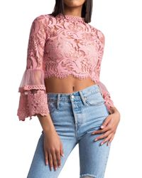 Akira - Multicolor Word Around Town Lace Crop Top - Lyst