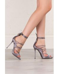 AKIRA | Gray Calling Me Satin Lace Up Sandals | Lyst