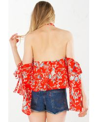 AKIRA - Red Wall Flower Cold Shoulder Longsleeve Top - Lyst