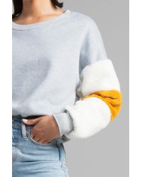 Akira - Gray We Belong Together Faux Fur Sleeve Sweatshirt - Lyst