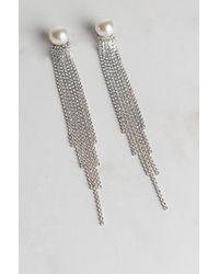 Akira   Metallic Fine Imitation Pearl Rhinestone Earring   Lyst