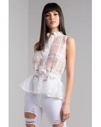 2c7784481b7f Lyst - AKIRA Super Love Sheer Peplum Top in White