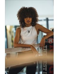 733ce771a584e adidas Crop Tank Top in White - Lyst