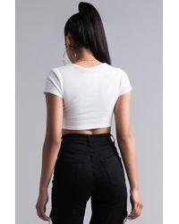 Akira - White Don't Get It Twisted Crop Top - Lyst