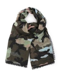 Valentino | Natural Silk-cashmere Camouflage Scarf for Men | Lyst