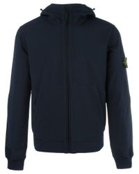 Stone Island | Blue Kangaroo Pockets Zipped Hoodie for Men | Lyst