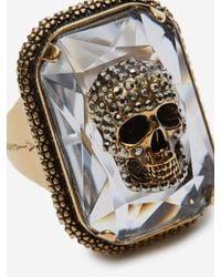 Alexander McQueen - Metallic Ring Jewelled Skull for Men - Lyst