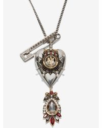 Alexander McQueen - Metallic Jewelled Heart Locket Necklace - Lyst