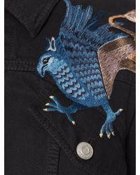 Alexander McQueen - Black Embroidered Denim Jacket - Lyst