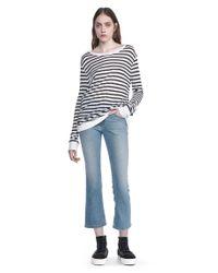 T By Alexander Wang | White Stripe Linen Long Sleeve Tee | Lyst