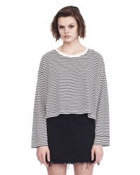 T By Alexander Wang - White Striped Long Sleeve Drop Shoulder Tee - Lyst