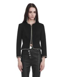 Alexander Wang | Black Cropped Peplum Jacket With Ball Chain Trim | Lyst
