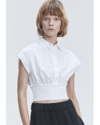 T By Alexander Wang - White Washed Poplin Top - Lyst