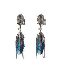 Alexis Bittar - Blue Draped Chain And Crystal Earrings - Lyst