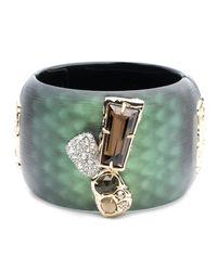 Alexis Bittar - Green Wide Lucite Hinge Bracelet With Rocky Stone And Pave Detail - Lyst