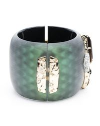 Alexis Bittar | Green Wide Lucite Hinge Bracelet With Rocky Stone And Pave Detail You Might Also Like | Lyst