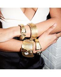Alexis Bittar - Metallic Golden Studded Hinge Bracelet - Lyst