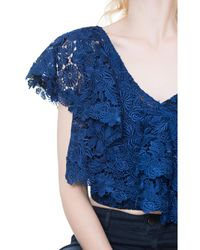 Alice + Olivia - Blue Saba One Shoulder Ruffle Top - Lyst