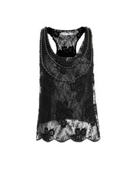 Alice + Olivia - Black Harmon Beaded Lace Tank - Lyst