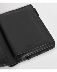 AllSaints - Black Roam Leather Travel Wallet for Men - Lyst