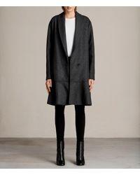 AllSaints - Gray Grace Ruffle Coat - Lyst