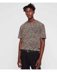 AllSaints - Brown Leopard Two Tone T-shirt for Men - Lyst