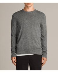 AllSaints - Gray Alec Crew Sweater for Men - Lyst