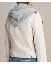 AllSaints - White Hooded Balfern Biker Jacket - Lyst