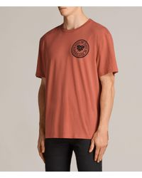 AllSaints - Red Fraternity Switch Crew T-shirt for Men - Lyst