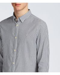 AllSaints - Blue Elderwood Shirt for Men - Lyst