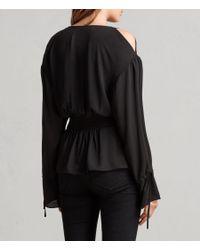 AllSaints - Black Lavete Top - Lyst