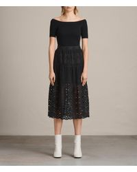 AllSaints | Black Janey Tier Broderie Skirt | Lyst