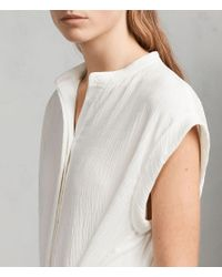 AllSaints - White Meda Textured Shirt Dress - Lyst