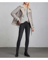 AllSaints - Gray Hawley Oversized Shearling Jacket - Lyst