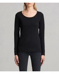 AllSaints - Black Vetten Long-sleeve Tee - Lyst