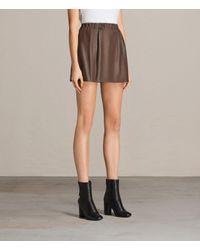 AllSaints - Brown Suko Leather Skirt - Lyst