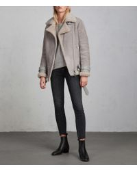 AllSaints - Gray Hawley Oversized Shearling Jacket - Lyst