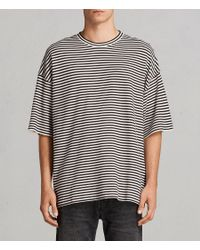 AllSaints - Black Torny Stripe Crew Sweatshirt for Men - Lyst