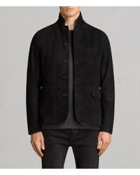 AllSaints - Black Liath Suede Blazer for Men - Lyst