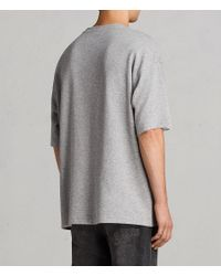 AllSaints - Gray Torny Short Sleeve Crew Sweatshirt for Men - Lyst