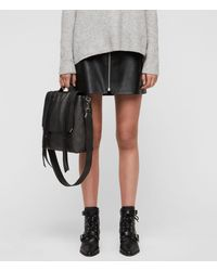 AllSaints - Gray Vincent Leather Backpack - Lyst
