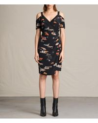 AllSaints | Blue Cadia Arosa Silk Dress | Lyst