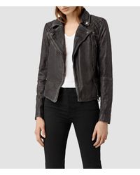 AllSaints | Black Cargo Leather Biker Jacket Usa Usa | Lyst