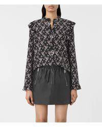AllSaints | Black Edin Nevin Silk Shirt | Lyst