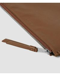 AllSaints - Brown Fleur De Lis Medium Leather Pouch - Lyst