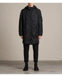 AllSaints | Black Kudi Parka Coat Usa Usa for Men | Lyst