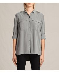 AllSaints | Gray Millie Shirt Usa Usa | Lyst