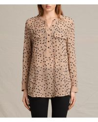 AllSaints | Brown Picolina Embroidered Shirt Usa Usa | Lyst